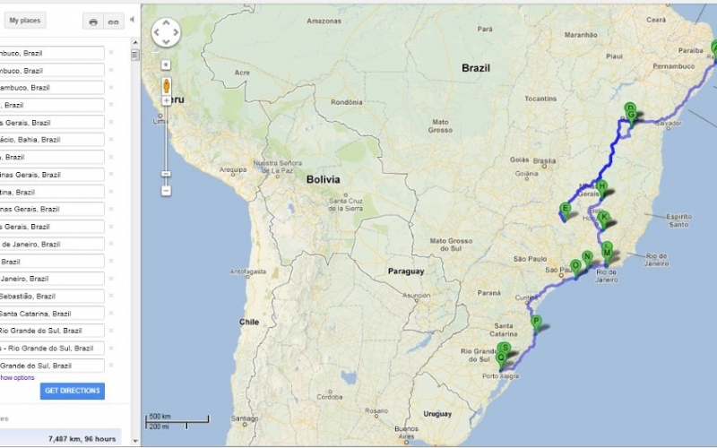 Brazil –  Map of the Road Trip