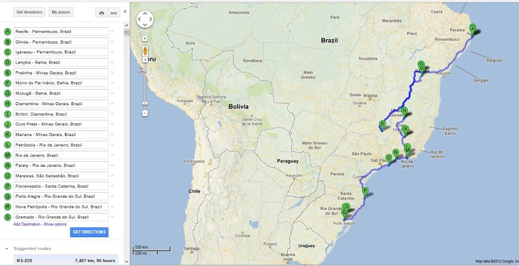 Brazil - Map of the Road Trip - Miss Athlétique
