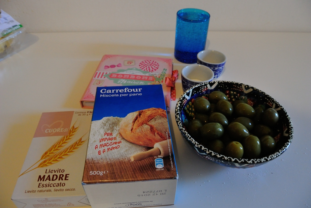 Ingredients to make your own, Italian olive bread