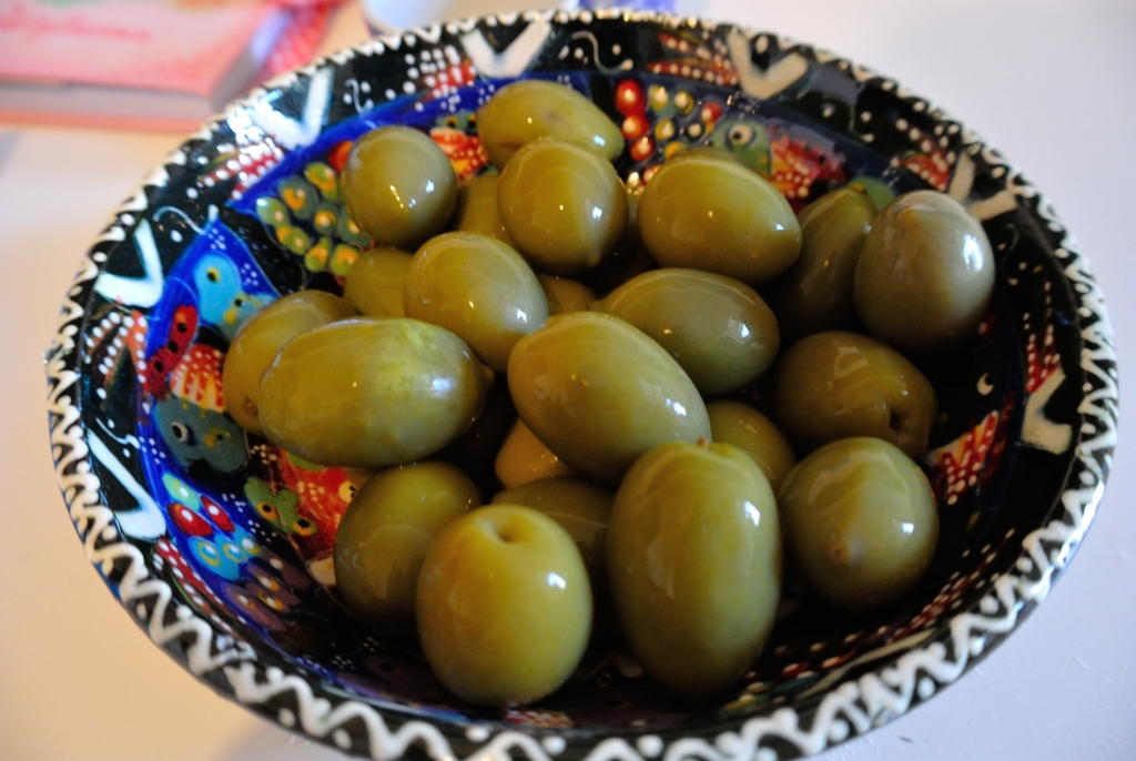 Large, green olives