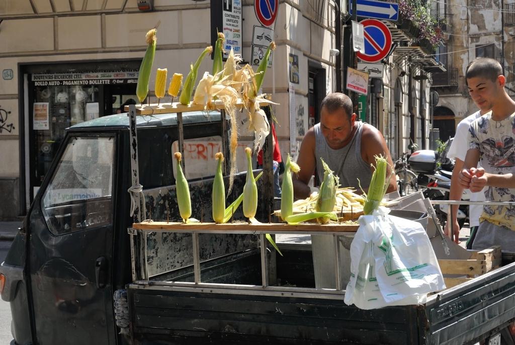 Corn sellers at Sicily