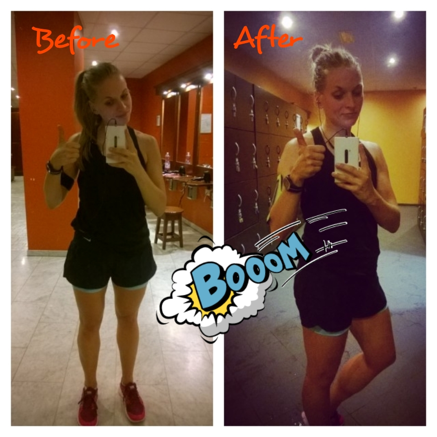 This is my before and after workout face
