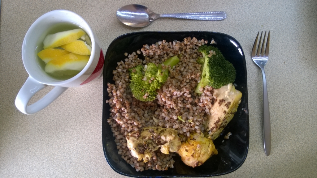 Buckwheat broccoli and chicken lunch