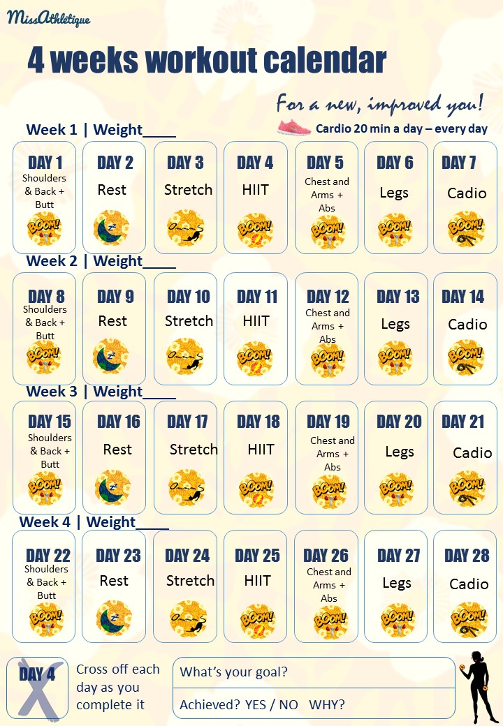 4 weeks workout calendar
