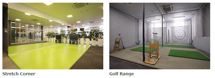 Golf swing practice room and stretching