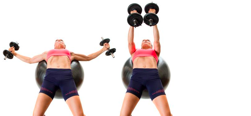 incline dumbbell fly on medicine ball